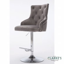 Lois grey velvet bar stool