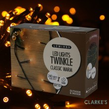 Lumineo Twinkle 240 LED (18m) String Christmas Lights Amber
