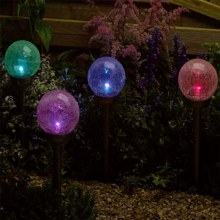 Majestic Battery Stake Colour Changing Glass Globes