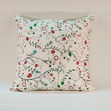Meadow Flowers White Cushion