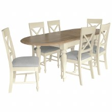 Meghan Oak Oval Dining Set. Extending Table and 6 Chairs