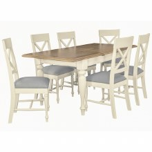 Meghan Oak Rectangular Dining Set. Extending Table and 6 Chairs