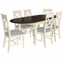 Meghan Walnut Oval Dining Set. Extending Table & 6 Chairs