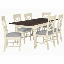 Meghan Walnut Rectangular Dining Set.Extending Table and 6 Chairs