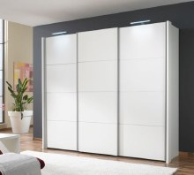 Miami White and  4 White Glass Paneled Doors Sliderobe 330 x 236cm