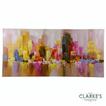 Misty Cityscape - Hand Painted Wall Art on Canvas