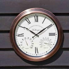 Mollington Garden Wall Clock with Thermometer 15in
