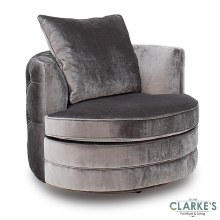 Nicolette luxury pewter swivel chair