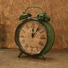 Old Time Clock Twin Bell Green