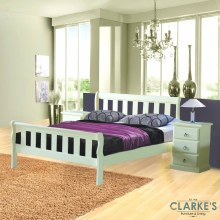 Olive Sleigh Bed Frame & Bedside Locker Set