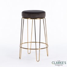 Oslo charcoal grey velvet stool