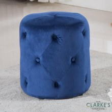 Pinot blue velvet foot stool