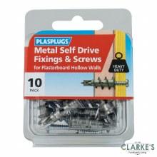 Plasplugs Metal Self Drive Fixings & Screws   10 Pack