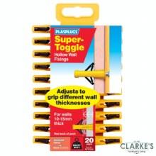 Plasplugs Super-Toggle Hollow Wall Fixings   20 Pack