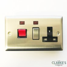 Power Pro 45A Coocker Switch with Socket Brushed Steel
