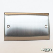 Power Pro Double Blanking Plate Brushed Steel