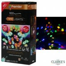 Premier 100 LED (10m) Battery Christmas String Lights Multi-Colour