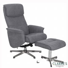 Rayna Grey Recliner Chair with Footstool