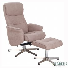 Rayna Sand Recliner Chair with Footstool