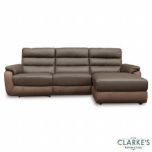 Ritz Leather Corner Sofa RHF Brown