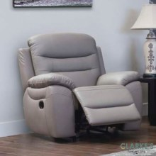 Romano grey leather 1 seater recliner