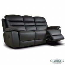Romano black leather 3 seater recliner
