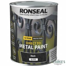 Ronseal Direct To Metal Paint Black Gloss 2.5 Litre
