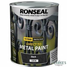 Ronseal Direct To Metal Paint Black Satin 2.5 Litre