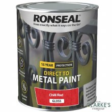Ronseal Direct To Metal Paint Chilli Red Gloss 750ml