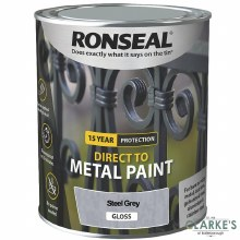 Ronseal Direct To Metal Paint Steel Grey Gloss 250ml