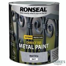 Ronseal Direct To Metal Paint Steel Grey Matt 250ml
