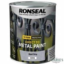 Ronseal Direct To Metal Paint Steel Grey Satin 250ml