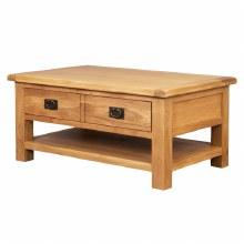 Salisbury Oak Coffee Table with Drawers & Shelf