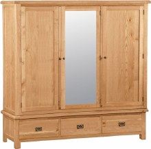 Salisbury Oak Triple Wardrobe with Mirror