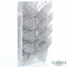 Silver Glitter Butterflies Christmas Decorations 15cm Pack of 4