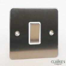 Sinoe 1 Gang Plate Light Switch Brushed Steel