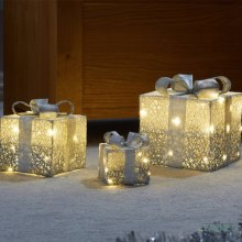Decorative Gift Boxes LED Lit Silver Set of 3