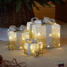 Decorative Gift Boxes LED Lit Gold Set of 3