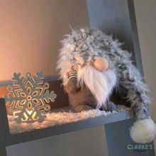 Super Furry Winter Wilfred Christmas Decoration Grey