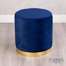 Smooth Velvet Round Footstool Blue