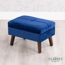 Smooth Velvet Footstool Royal Blue
