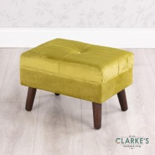 Smooth Velvet Footstool Mustard with Storage