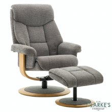 Sorrento Swivel, Recliner Chair with Stool Charcoal