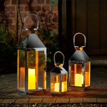 Sockholm Stainless Steel Lanterns Pack of 3