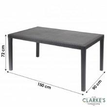 Rattan Effect Large Garden Table 150cm