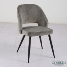 Sutton grey velvet dining chair