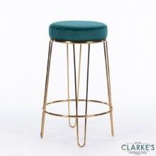 Oslo teal velvet stool