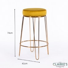 Oslo mustard velvet stool