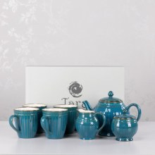 Tara 7 Pieces Pottery Tea Set Teal