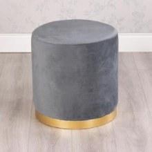 Velvet Grey Charcoal Stool
